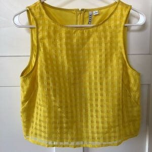ELLE Yellow Gingham Crop Top Size Small